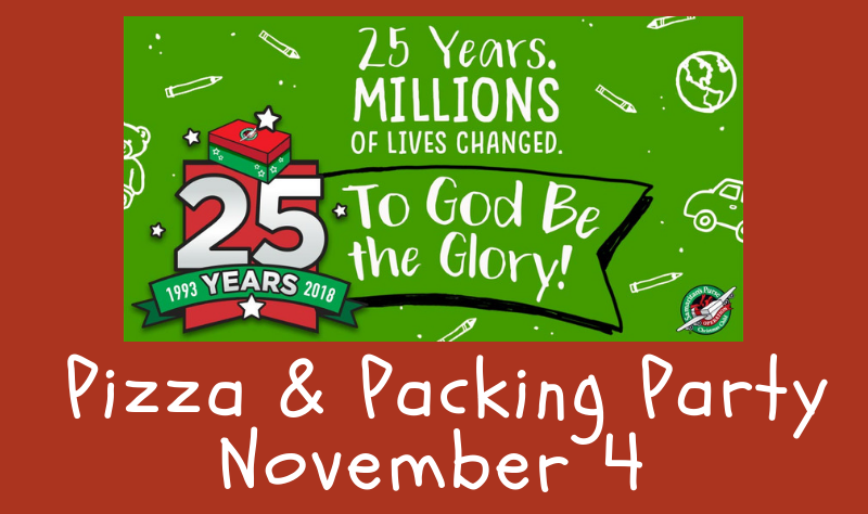 Operation Christmas Child Packing Party 2018 banner image