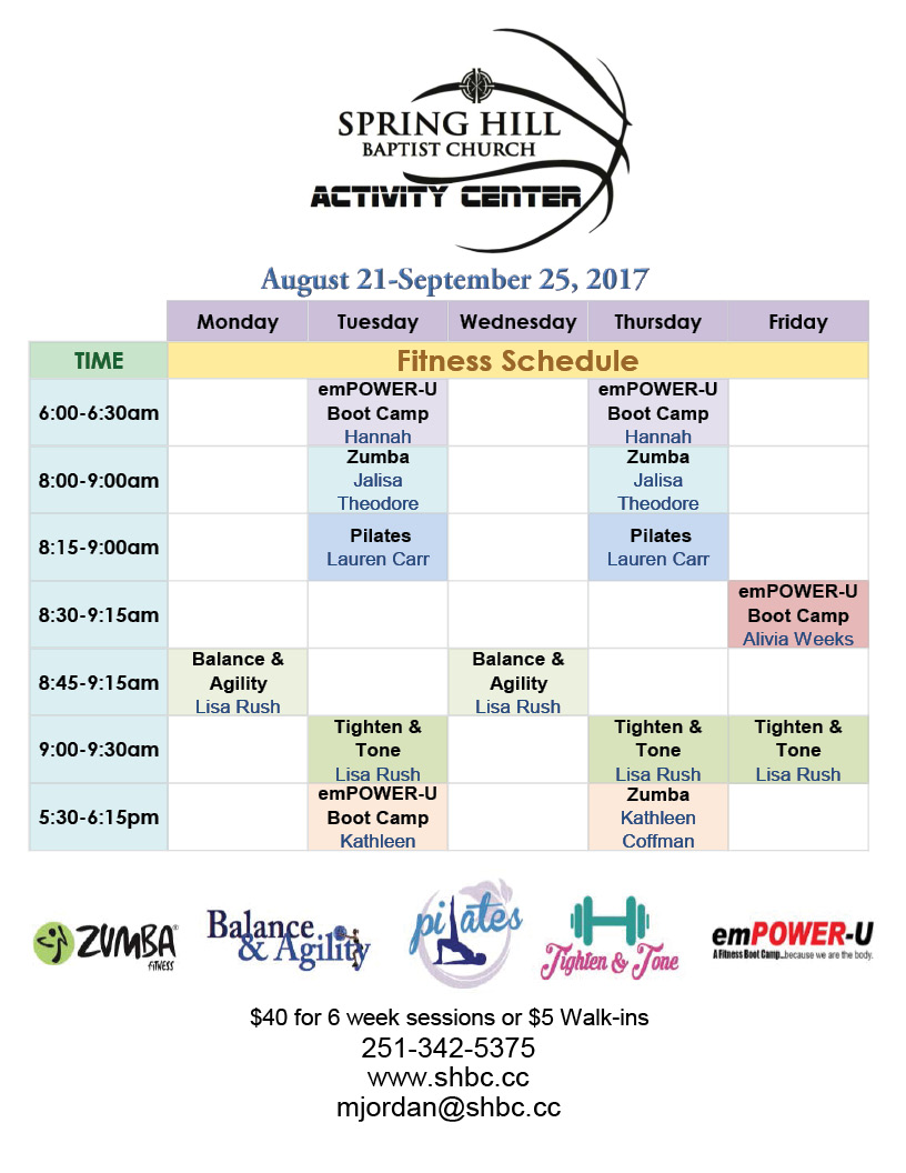 Fitness Schedule August-September 2017