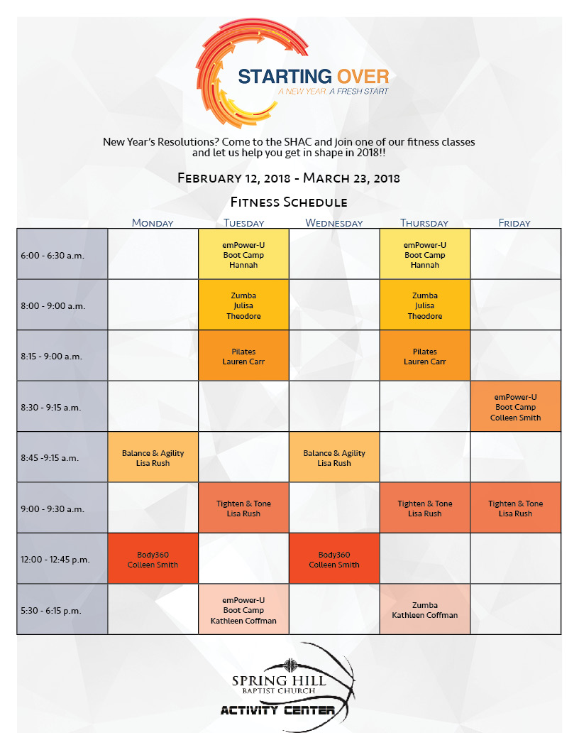 Fitness Schedule February2018