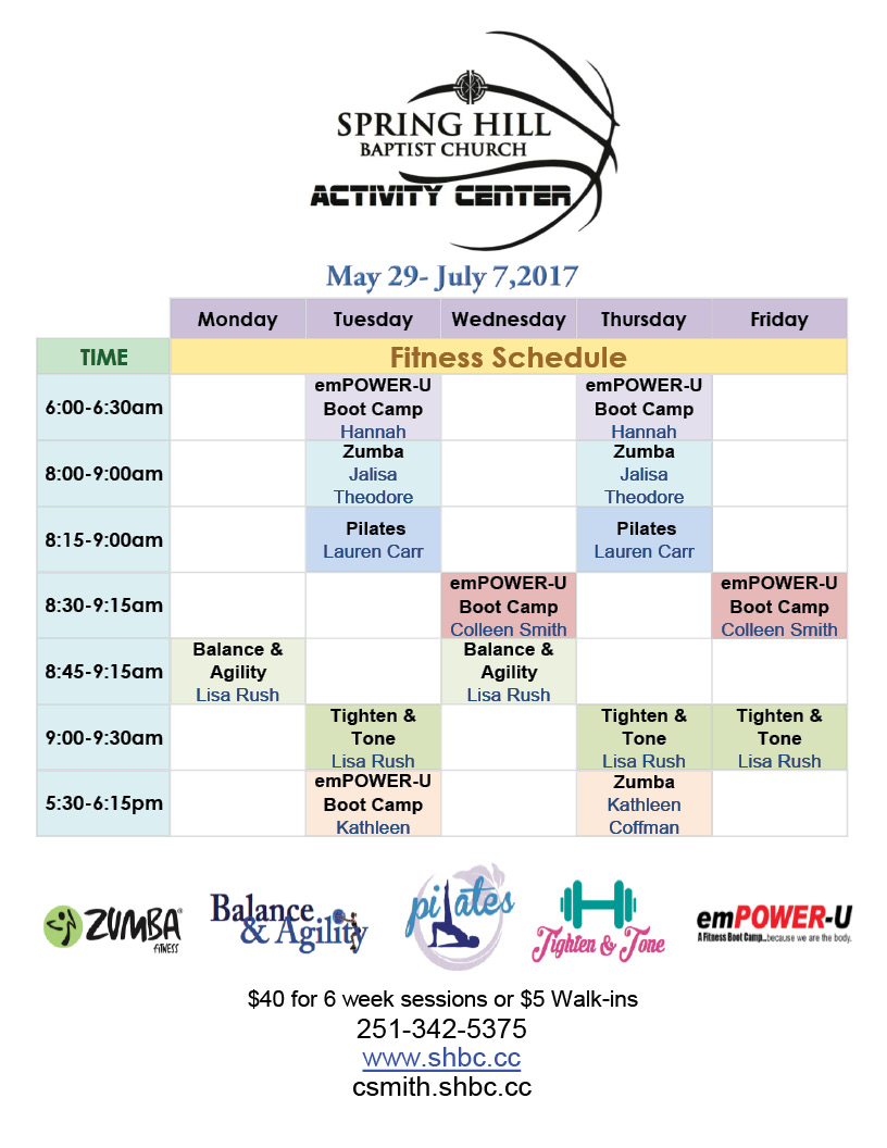 Fitness Schedule for May 29- July7