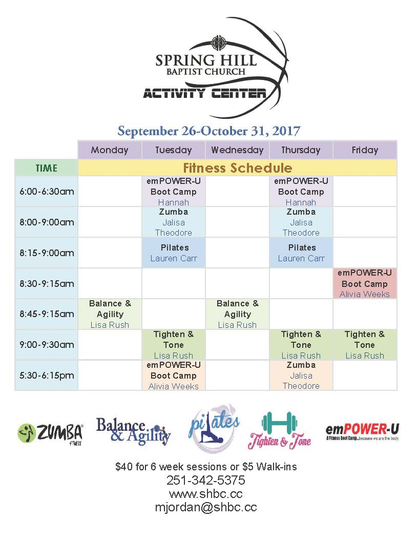 Fitness Schedule for September 26-October 31, 2017