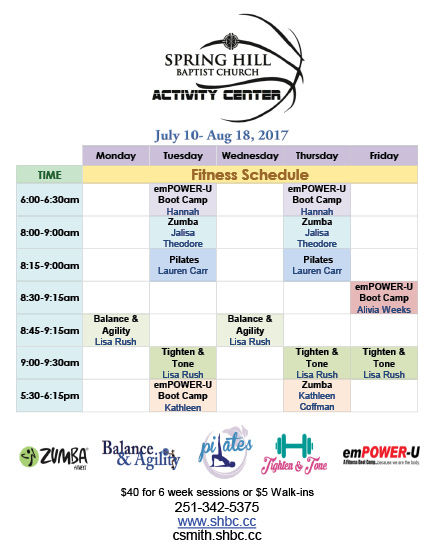 Fitness Schedule July-Aug, 2017 b