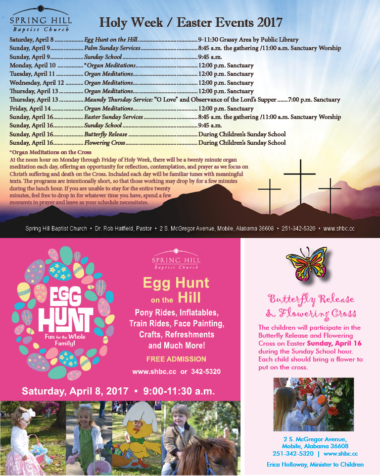 Holy Week Easter Events 2017