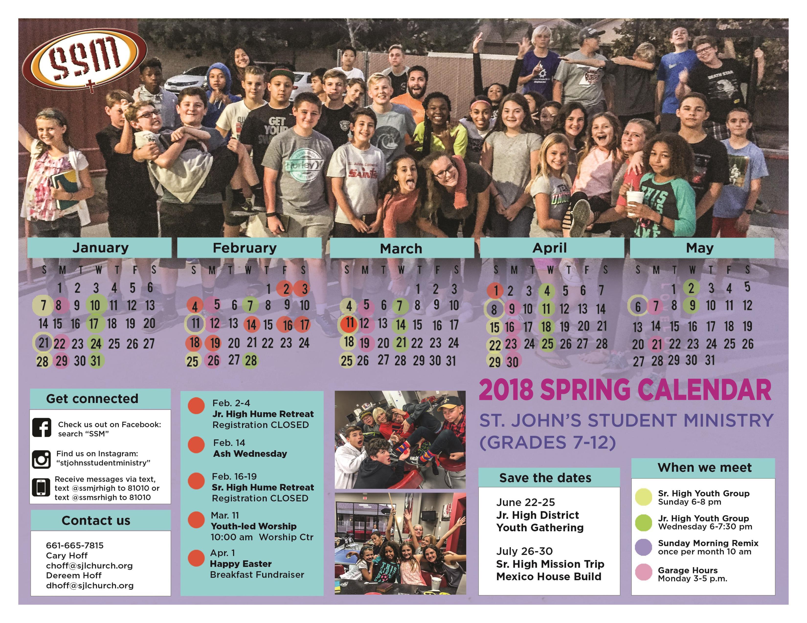 SSM Calendar Spring 2018