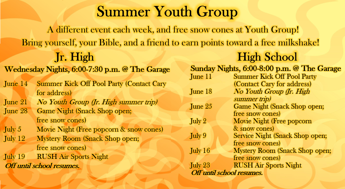 Summer Youth Groups 2017