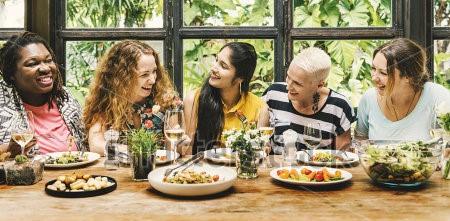 women-communication-dinner-together-concept-497250184