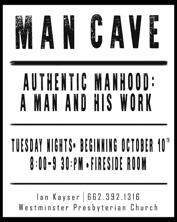 Man Cave Poster Size man and his work info card