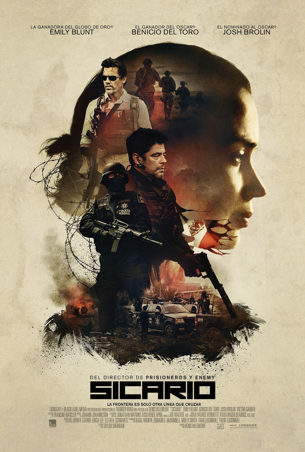 Sicario - Emily Blunt, Benicio Del Toro y Josh Brolin