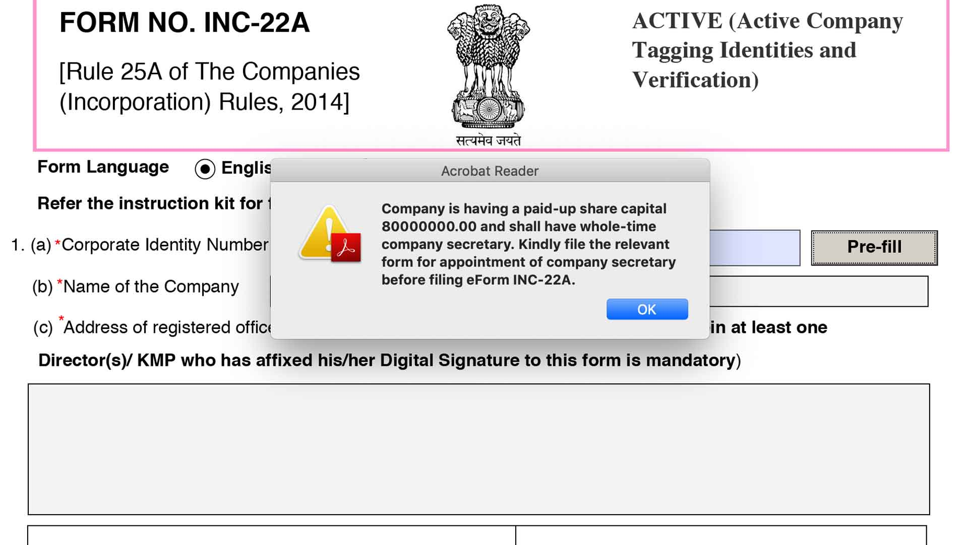 From 22-A filing & Appointment of Company Secretary