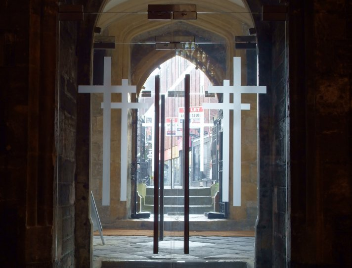 Shoppers In Cardiff Have A New View Into The Cityu0027s Oldest Church As Its  Wooden Doors Are Replaced With Transparent Glass Ones.