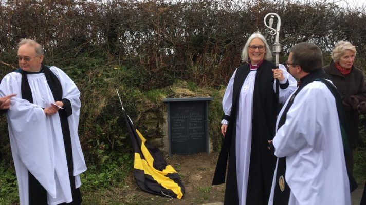 Bishop Joanna dedicates the new Hundred Stone at Garn Twrne, Pembnrokeshire