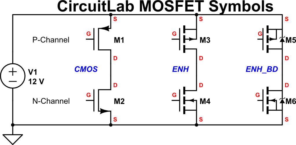 new mosfet schematic symbols blog circuitlabif you get mixed up while building your schematic, just mouse over any terminal and circuitlab will tell you if it\u0027s the drain or source!