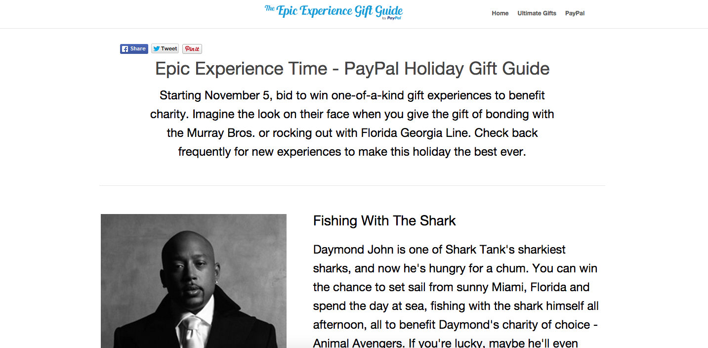 PayPal - Epic Experiences - Holiday PR Campaign