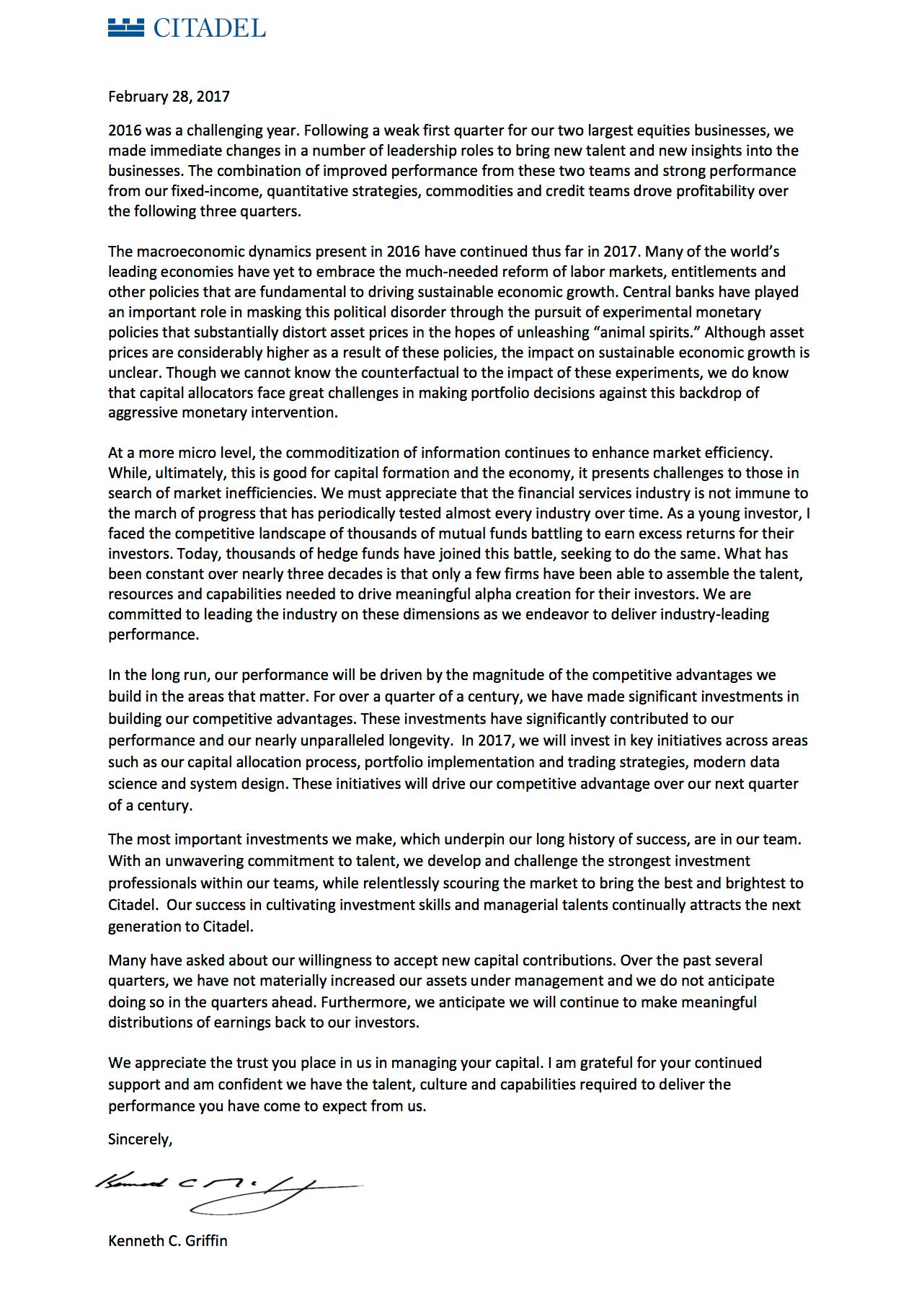 Ken Griffin's Letter to Investors   Citadel