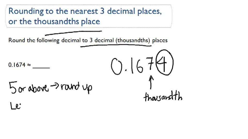 Round Decimals With Place Value Video Arithmetic