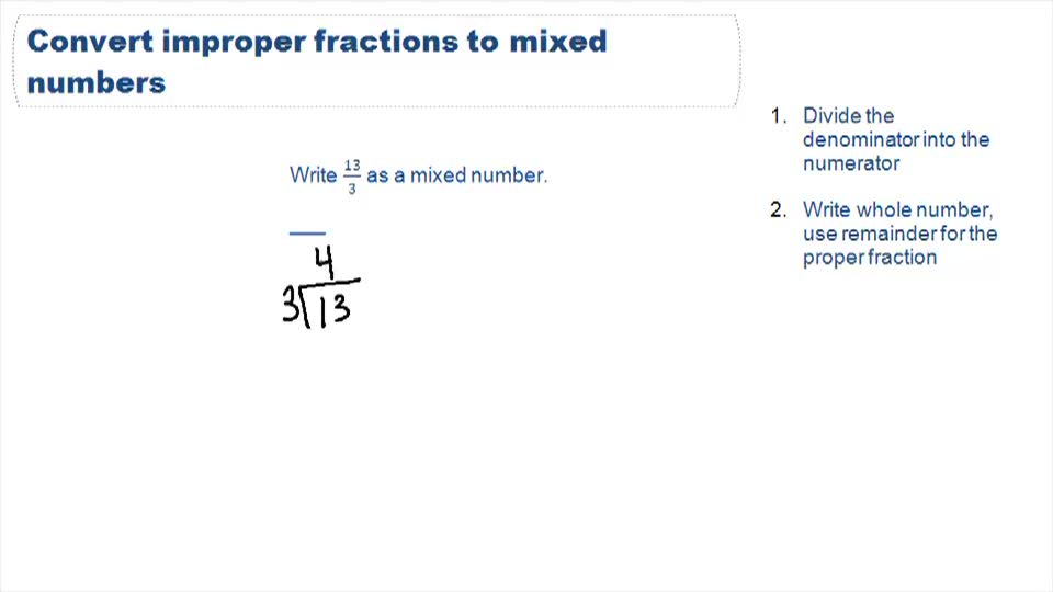Converting Between Mixed Numbers and Improper Fractions - Example 1