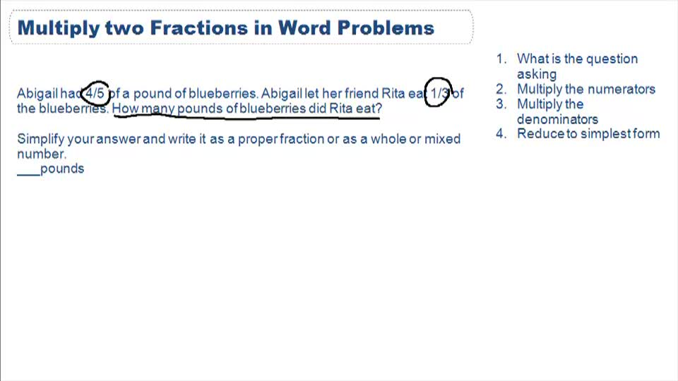 Multiply fractions - Example 1