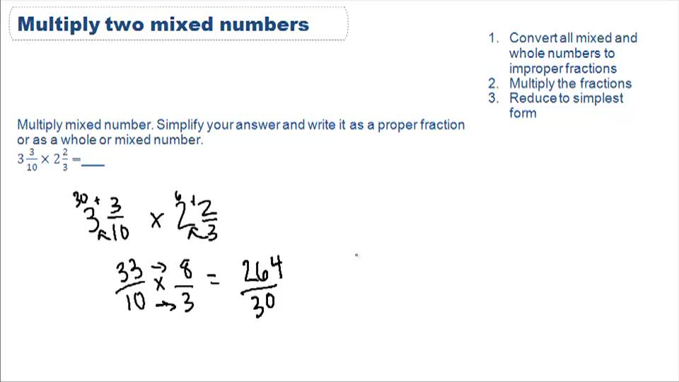 Multiplication involving mixed numbers - Example 1