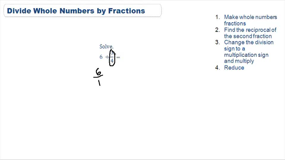 Dividing Whole Numbers and Fractions - Example 1