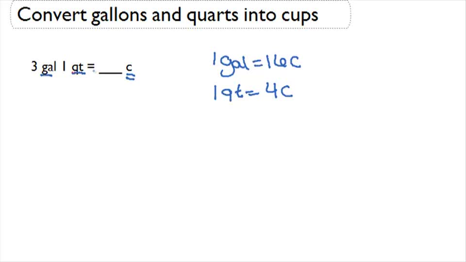 Convert Gallons and Quarts into Cups ( Video ) | Measurement ...