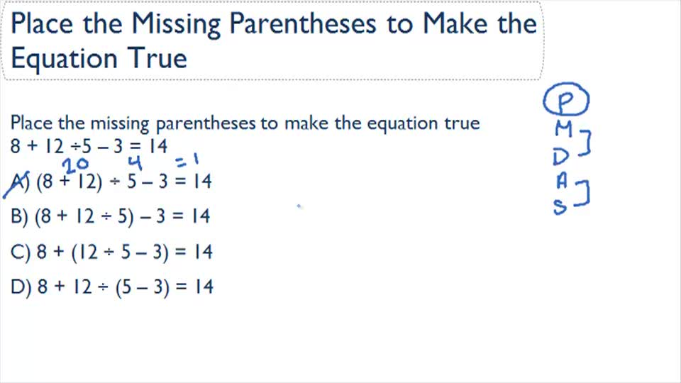 Place Parentheses to Make True Statements   CK-12 Foundation