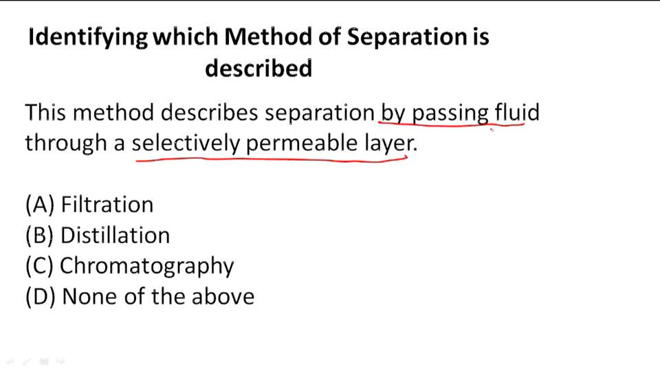 Methods of Separation - Example 1