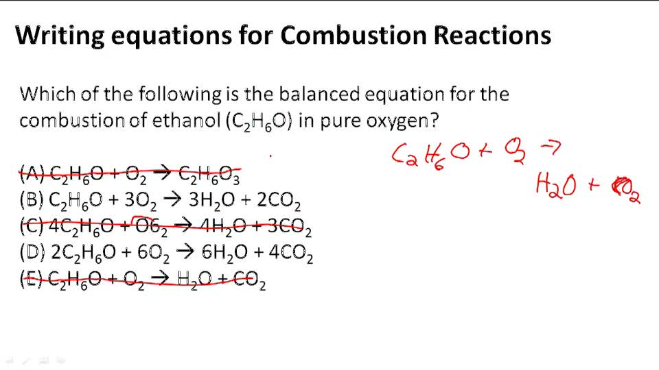 Writing Equations for Combustion Reactions