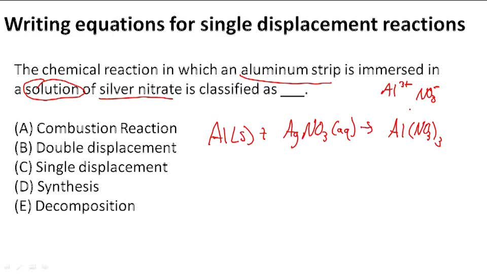 Writing Equations for Single Displacement Reactions
