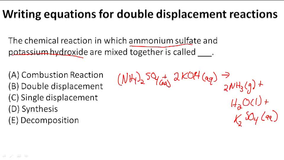 Writing Equations for Double Displacement Reactions