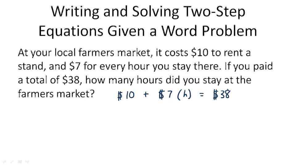 writing two step equations Equations reporting category patterns, functions, and algebra topic solving one and two step linear equations primary sol 714 the student will o what are the differences between solving one-step equations and solving two-step equations journal/writing prompts o write a word problem whose solution can be.