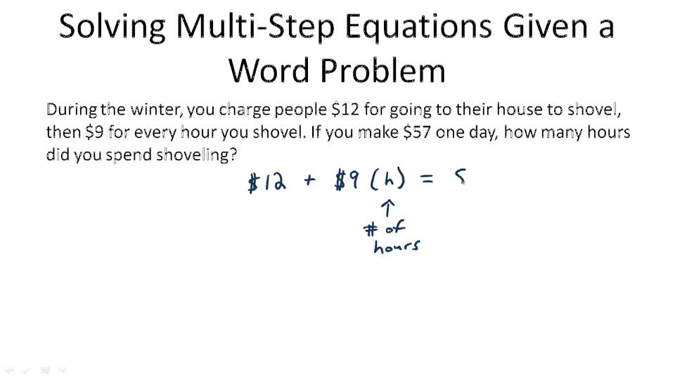 MultiStep Equations Video Algebra – Multi Step Equation Word Problems Worksheet