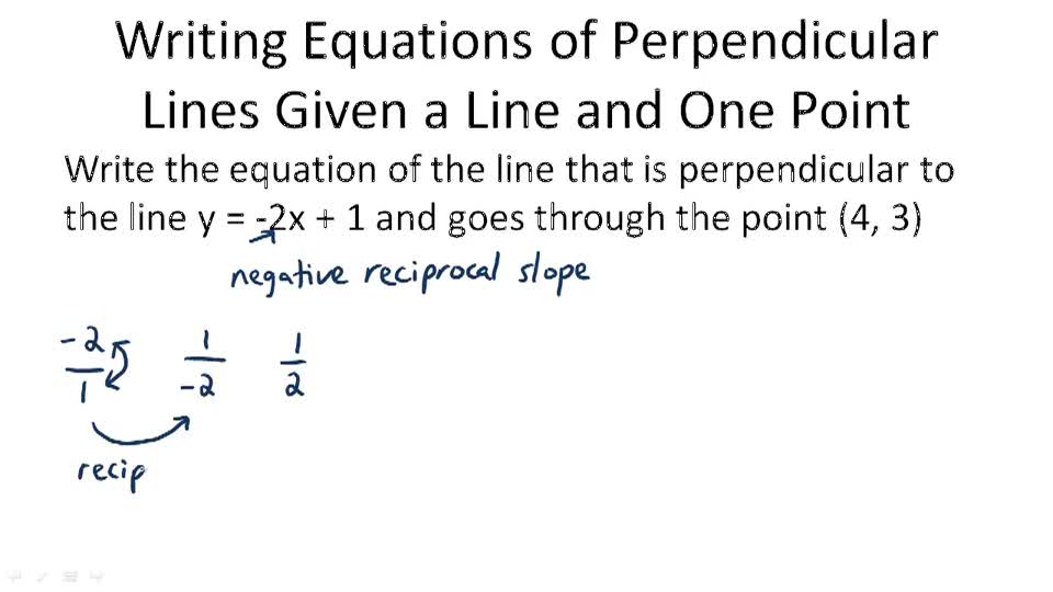 Writing Equations of Perpendicular Lines - Example 1