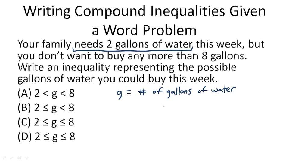 writing inequalities Practice writing inequalities to describe real-world situations.
