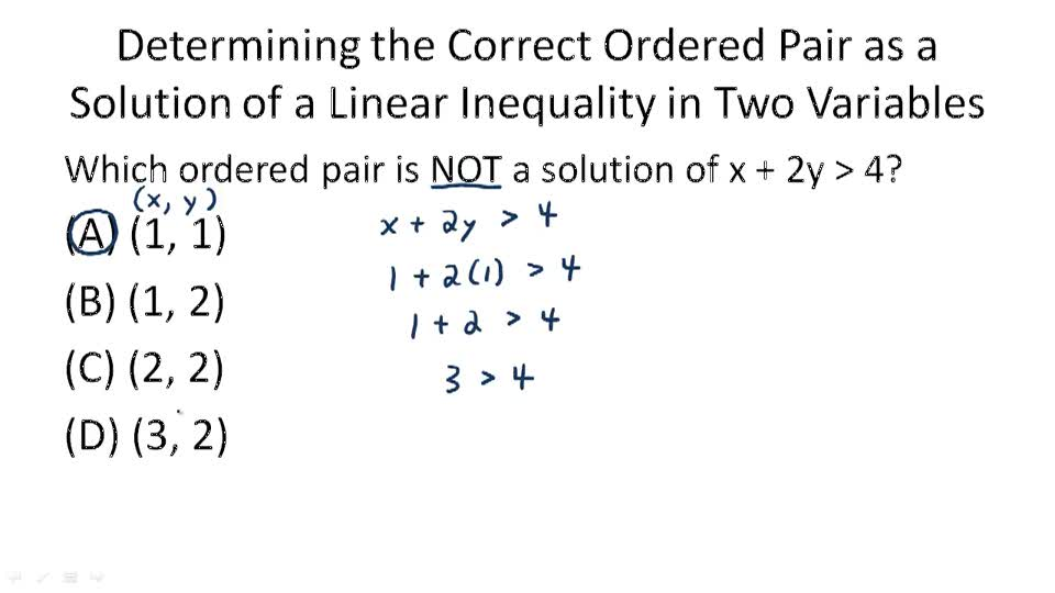 Components of Linear Inequalities in Two Variables - Example 1