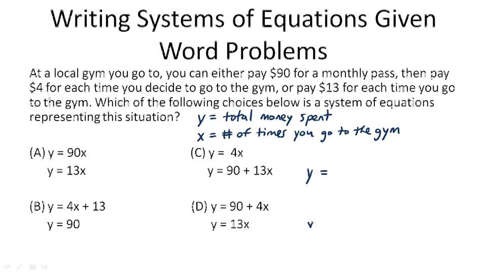 Applications of Linear Systems Video Algebra – System of Equation Word Problems Worksheet