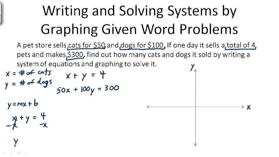 Writing systems of equations from word problems