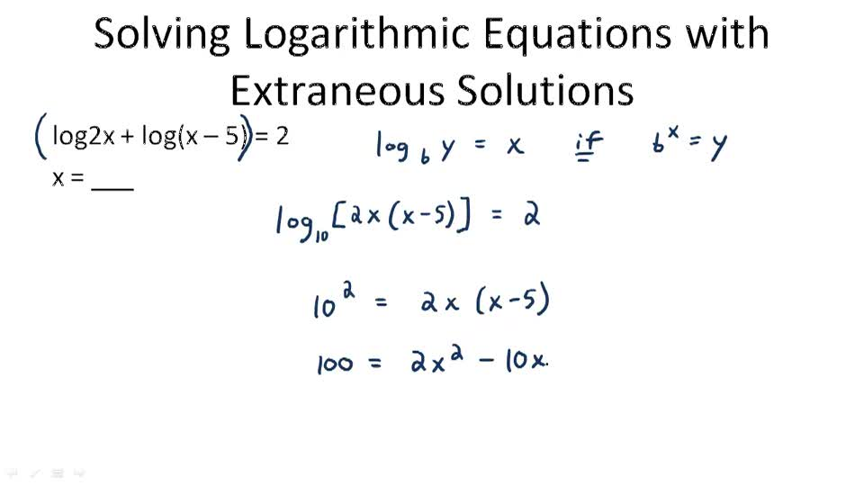 Solving Logarithmic Equations | CK-12 Foundation