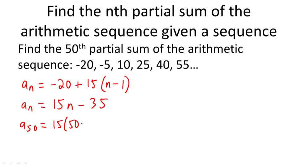Sums Of Finite Arithmetic Series  Video   Calculus  Ck