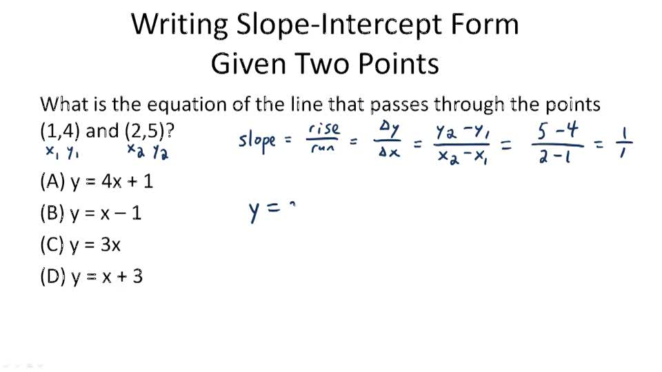 slope intercept form questions and answers  Write a Function in Slope-Intercept Form ( Video ) | Algebra ...