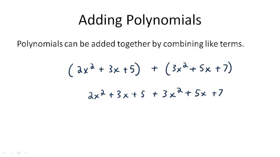 adding polynomials example 1 by ck 12 basic adding two polynomials ...