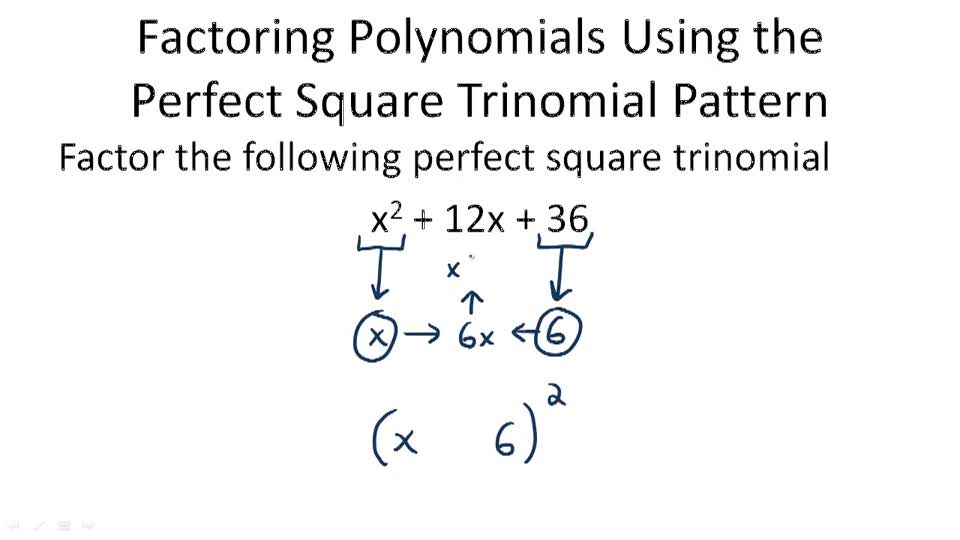 Factorization using Perfect Square Trinomials ( Video ) | Algebra ...