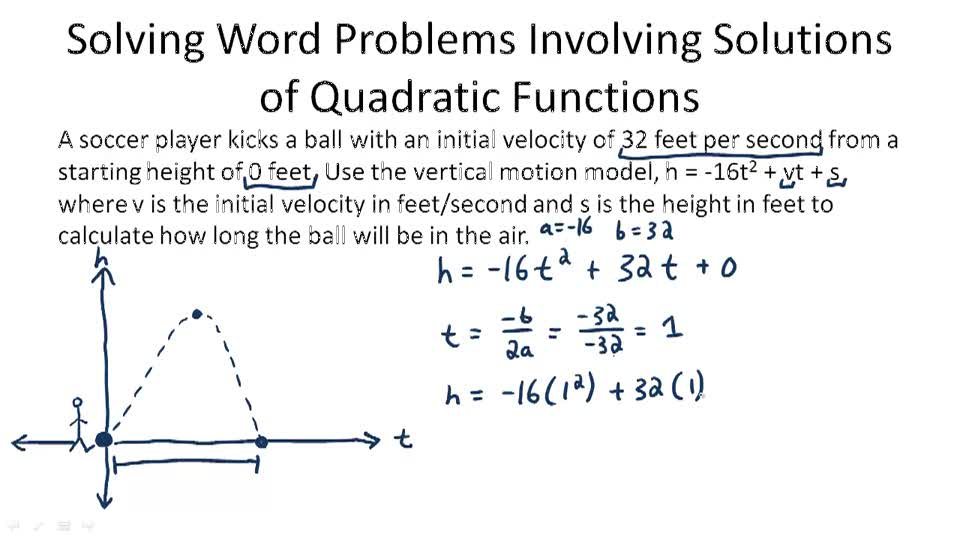 Quadratic Equation Applications – Quadratic Function Word Problems Worksheet