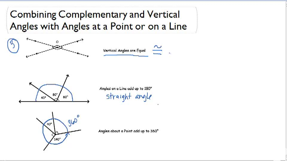 Combining Complementary and Vertical Angles with Angles at a Point or on a Line - Overview