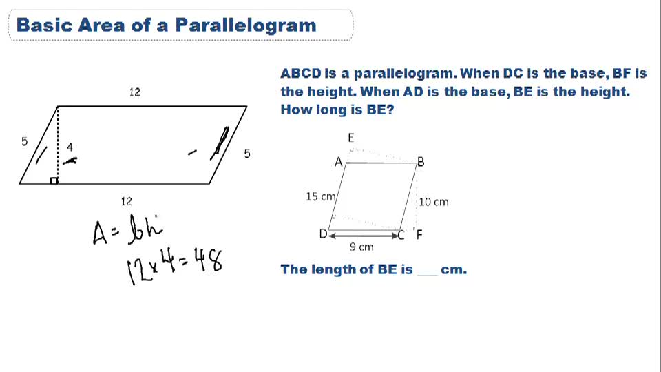 Basic Area of Parallelogram - Overview