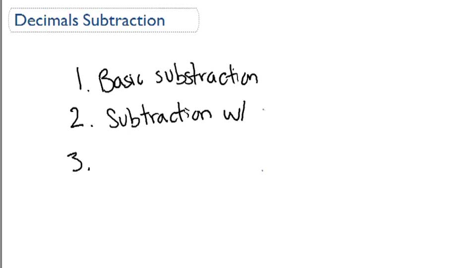Decimals Subtraction - Overview