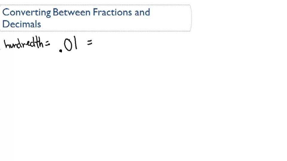 Converting Decimals into Fractions - Overview