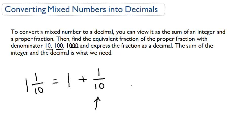 Converting Mixed Numbers into Decimals - Overview