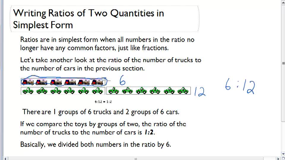 Writing Ratios of Two Quantities in Simplest Form - Overview