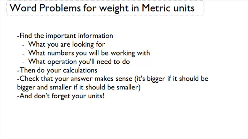 Word Problems for Weight in Metric Units - Overview
