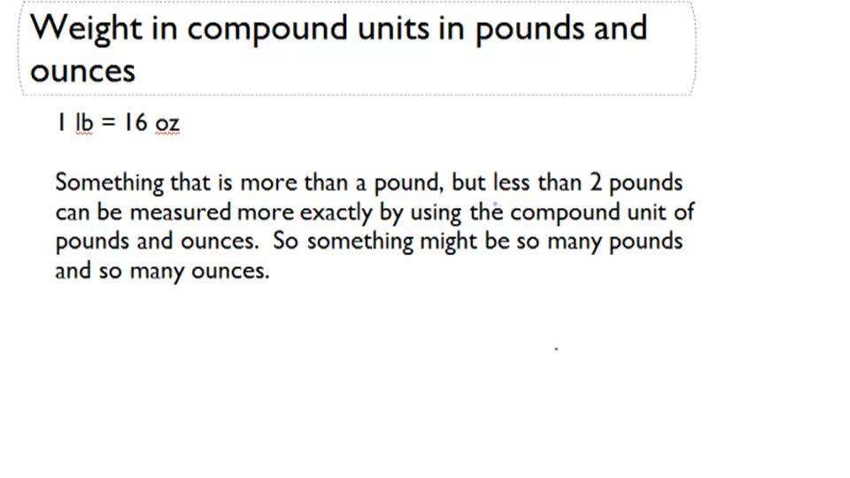 Weight in Compound Unit in Pound and Ounce - Overview